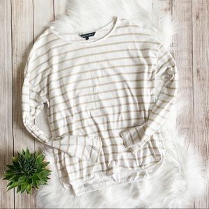 French Connection Sparkly Striped Long Sleeve Tee